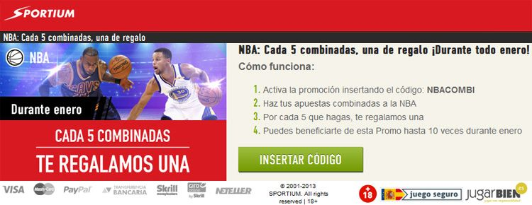 Sportium presenta una nueva promoción para los partidos de NBA