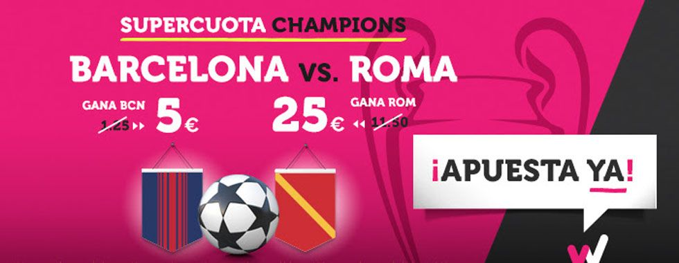 Supercuota Champions para el partido Barcelona - Roma