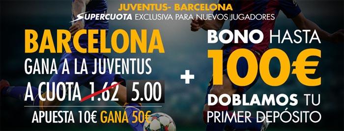 Supercuota de 5.0 por la victoria de Barcelona contra el Juventus