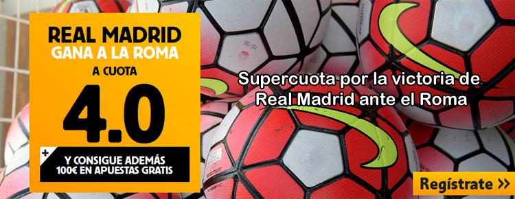 Supercuota por la victoria de Real Madrid ante el Roma
