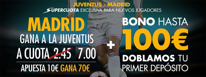 Supercuota de 7.0 por la victoria de Real Madrid ante el Juventus