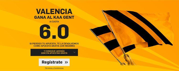 Supercuota de 6.0 por la victoria de Valencia ante el KAA Gent