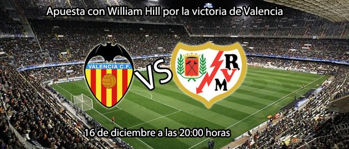 Apuesta con William Hill por la victoria de Valencia contra Rayo Vallecano