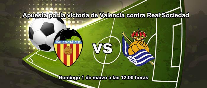 Apuesta por la victoria de Valencia contra Real Sociedad